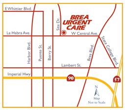 brea urgent care map