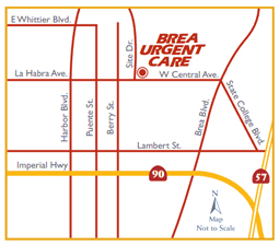 brea urgent care map